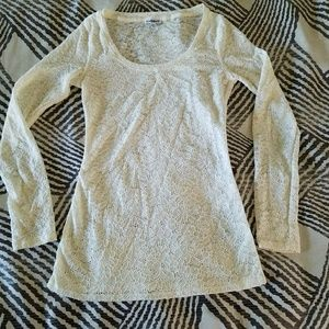 Express, long sleeve white lacey top